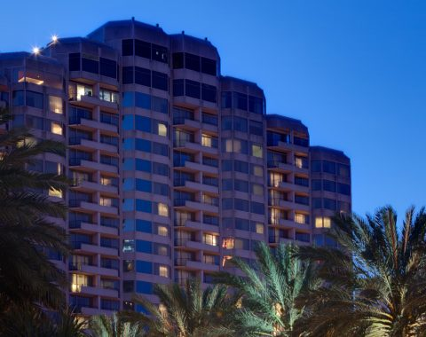 exterior shot of Windsor Court hotel at night