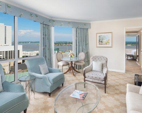 living room of Windsor Court Hotel corner suite