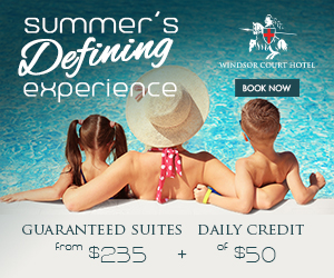 Summer's Defining Experience Banner ad image featuring family in pool at Windsor Court Hotel
